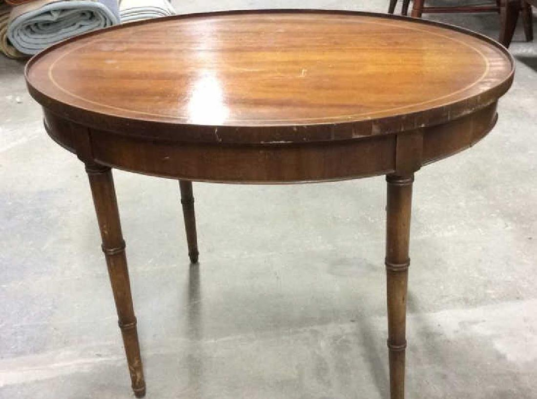 Antique Inlaid Oval Low Table Oval Low Table coffee - 4