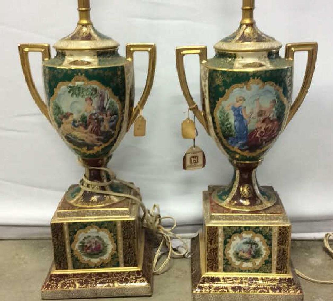 Pair Vintage Painted Porcelain Trophy Lamps Porcelain
