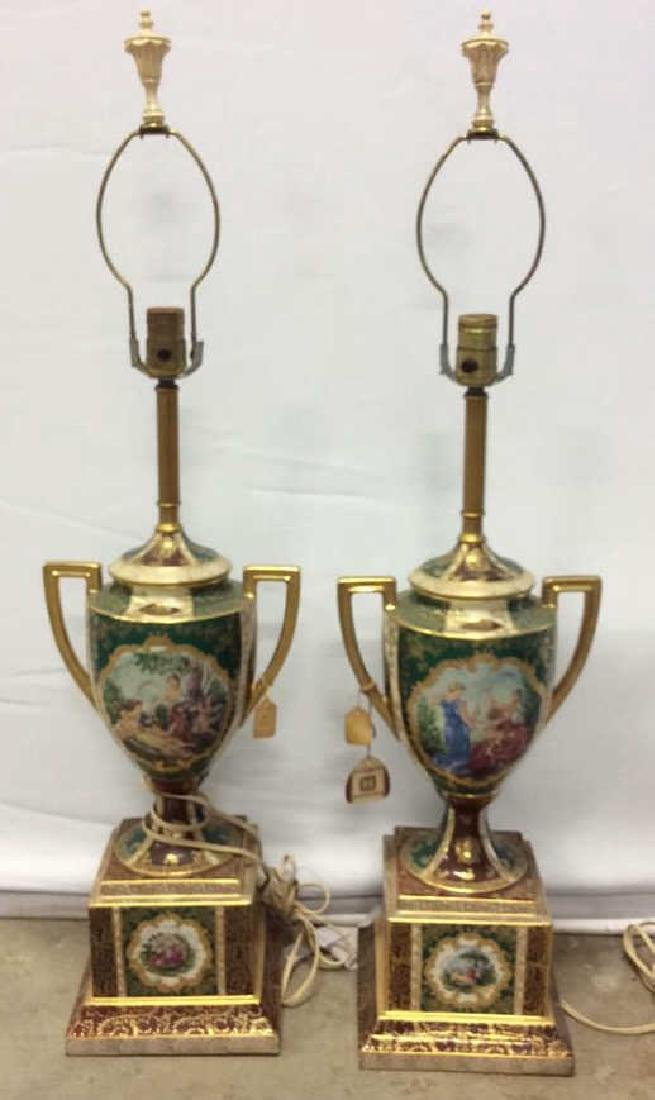 Pair Vintage Painted Porcelain Trophy Lamps Porcelain - 2