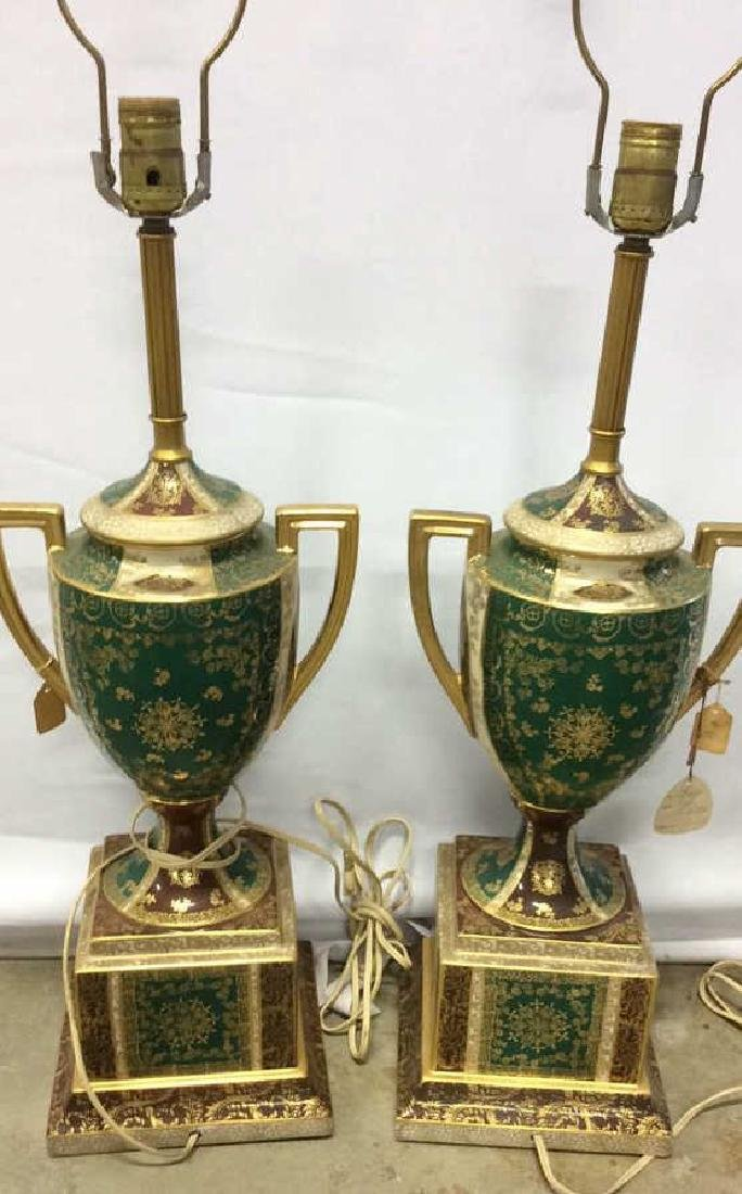 Pair Vintage Painted Porcelain Trophy Lamps Porcelain - 5