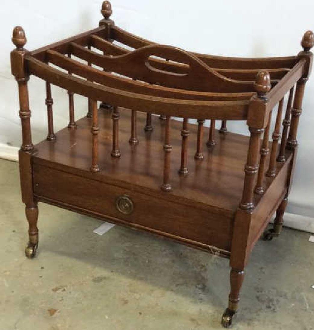 Antique Mahogany Canterbury Casters Turned spindles