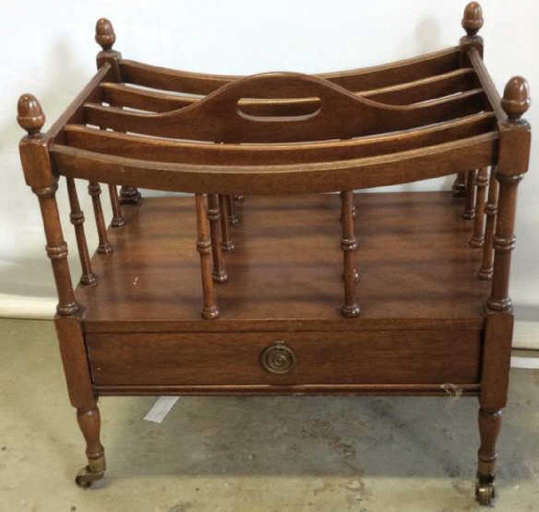 Antique Mahogany Canterbury Casters Turned spindles - 2