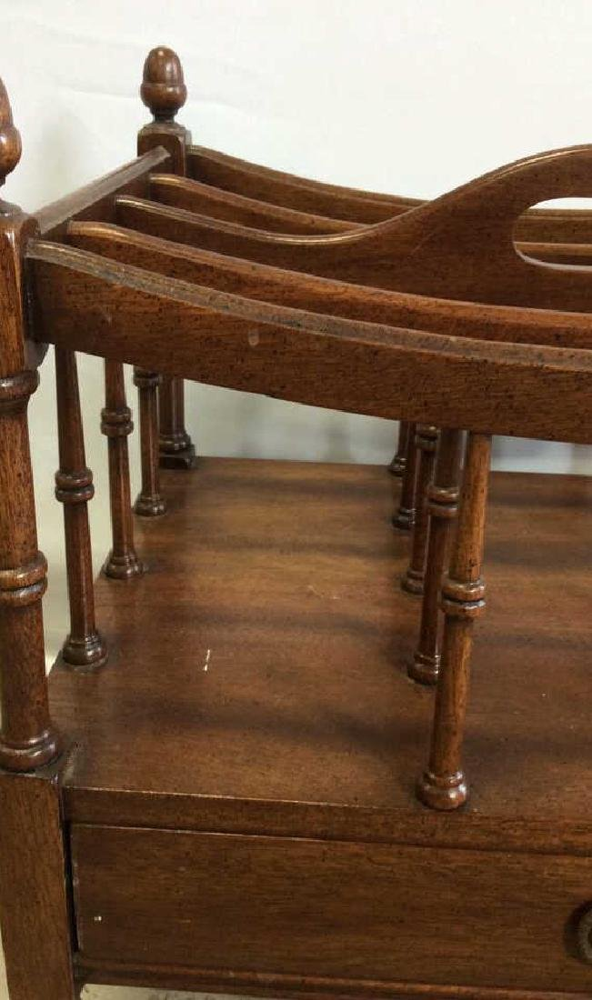 Antique Mahogany Canterbury Casters Turned spindles - 5