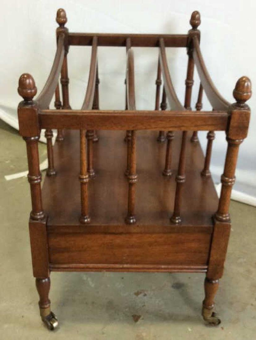 Antique Mahogany Canterbury Casters Turned spindles - 6