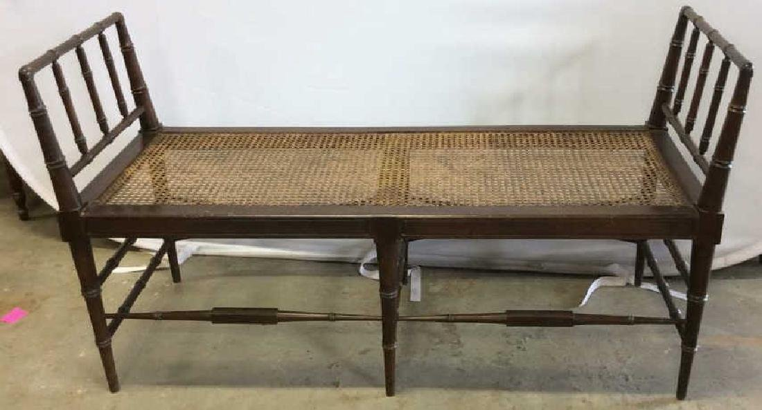 Vintage Chocolate Brown Wood And Caned Bench Caned seat
