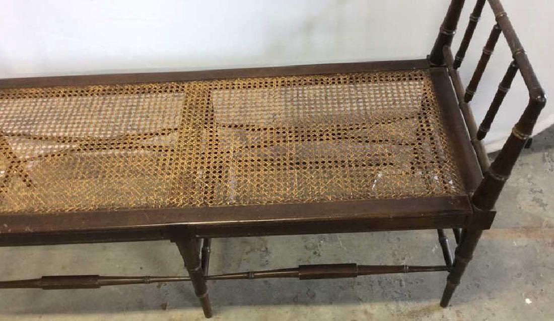 Vintage Chocolate Brown Wood And Caned Bench Caned seat - 2