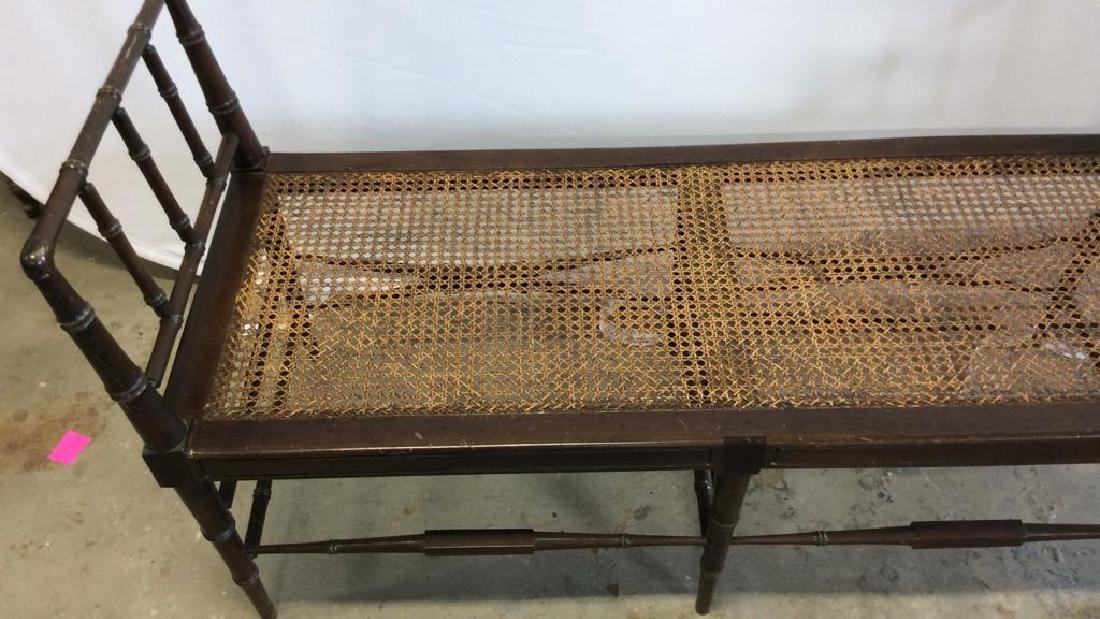 Vintage Chocolate Brown Wood And Caned Bench Caned seat - 3