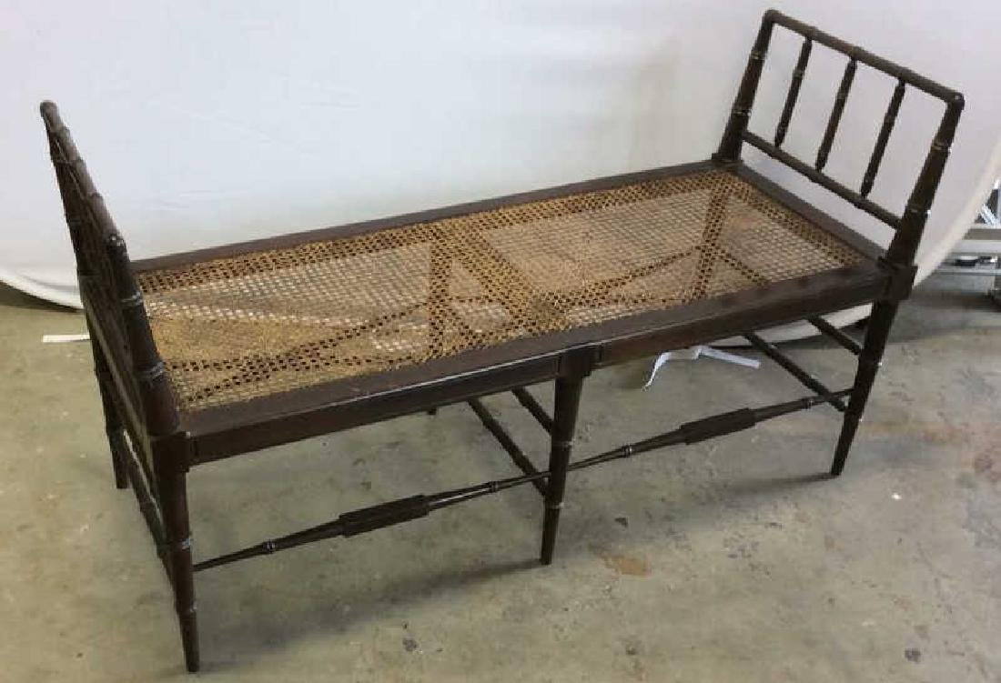 Vintage Chocolate Brown Wood And Caned Bench Caned seat - 4