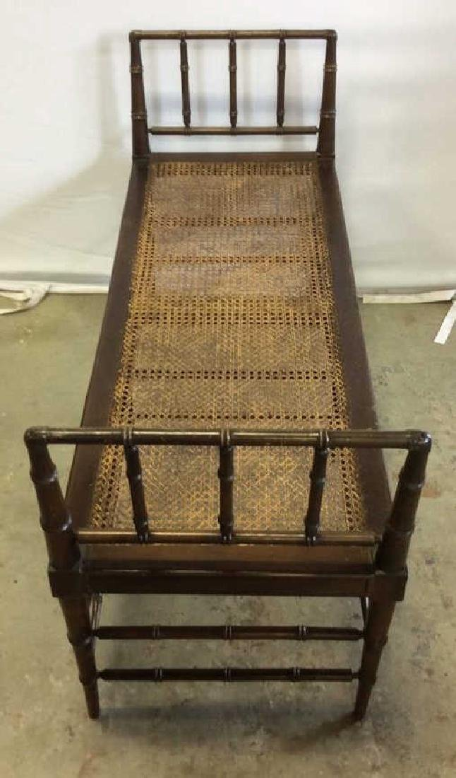 Vintage Chocolate Brown Wood And Caned Bench Caned seat - 5