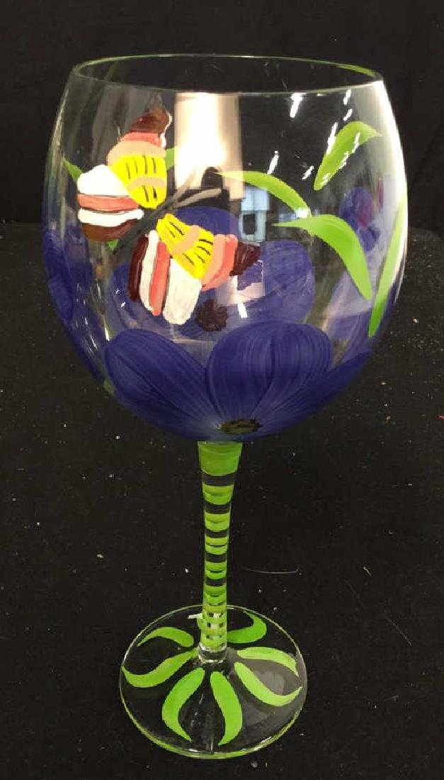 Assortment Of Hand painted Wine Glasses 10 hand painted - 2