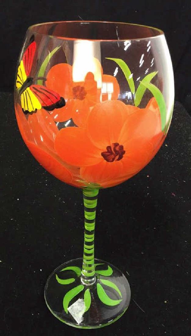 Assortment Of Hand painted Wine Glasses 10 hand painted - 3