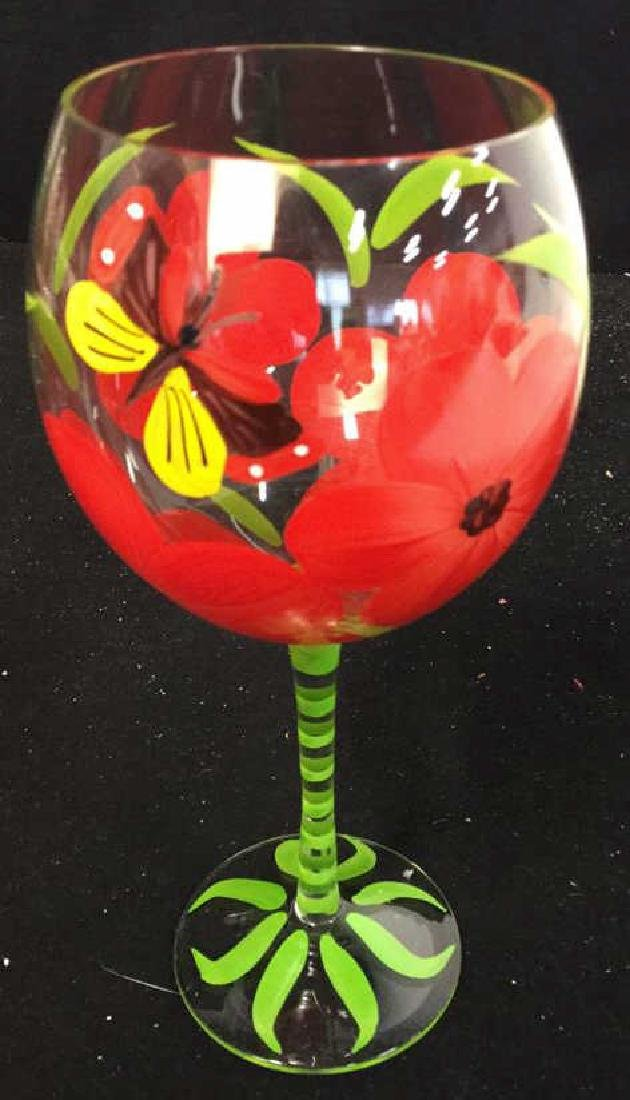 Assortment Of Hand painted Wine Glasses 10 hand painted - 5