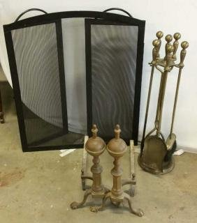 Fireplace Tools Andirons and Trifold screen Fire place