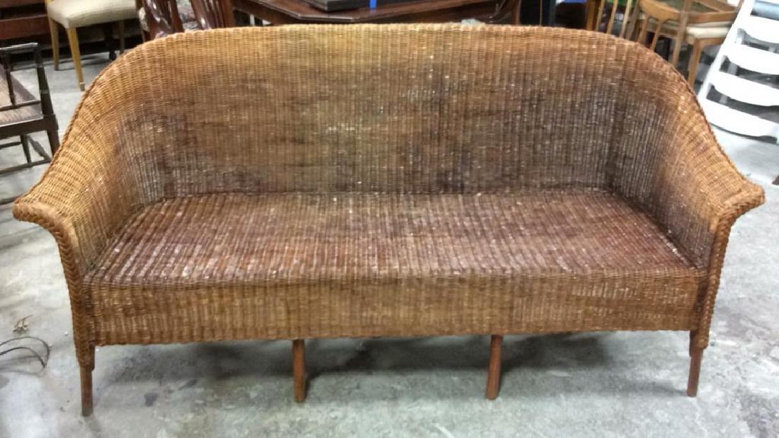 Vintage Bamboo Rattan Sofa Setee Sofa, Setee, old world - 3