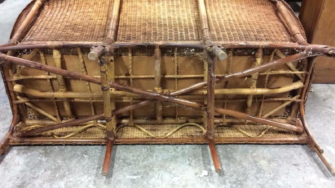 Vintage Bamboo Rattan Sofa Setee Sofa, Setee, old world - 7