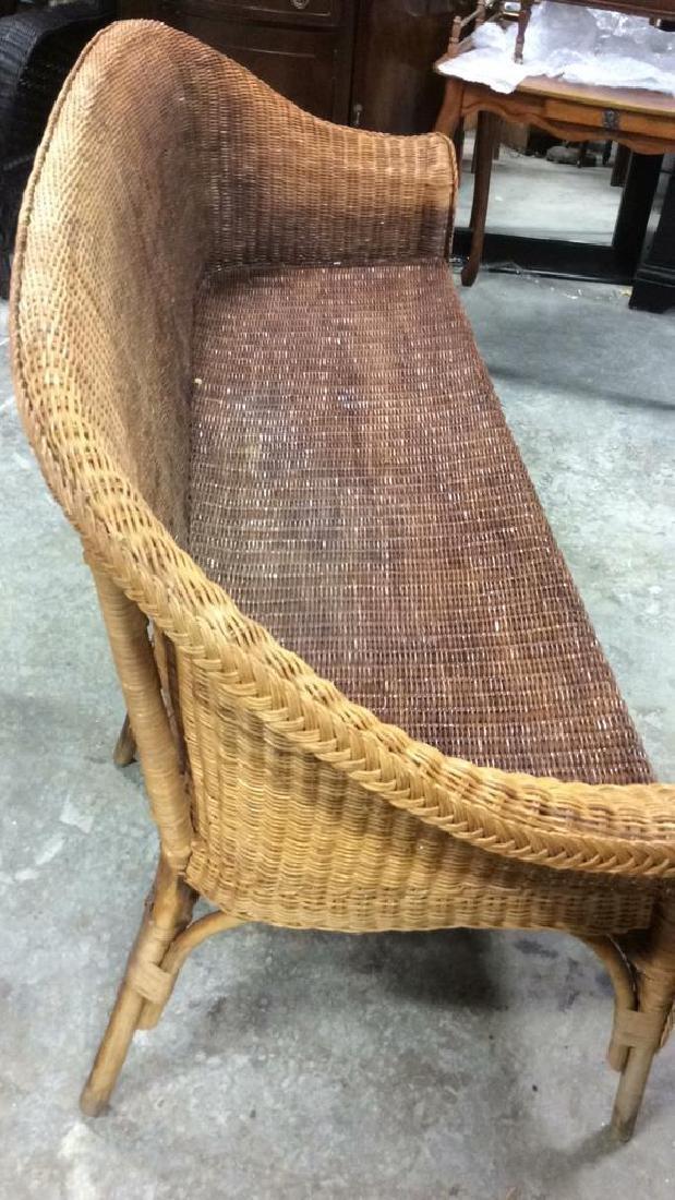 Vintage Bamboo Rattan Sofa Setee Sofa, Setee, old world - 8