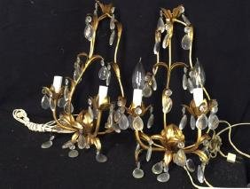 Vintage Gold Leaf Wall Iron Sconces Pair of vintage