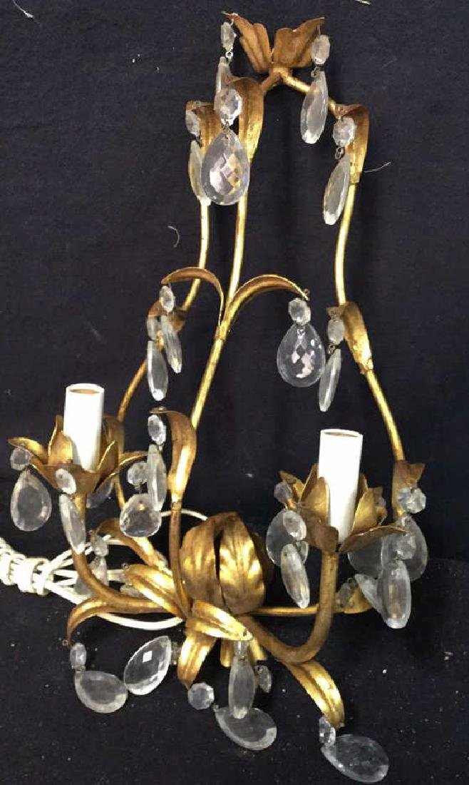 Vintage Gold Leaf Wall Iron Sconces Pair of vintage - 2