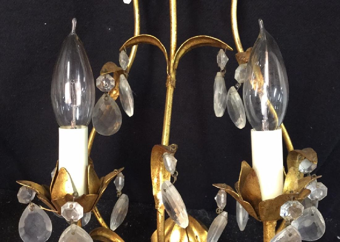 Vintage Gold Leaf Wall Iron Sconces Pair of vintage - 5