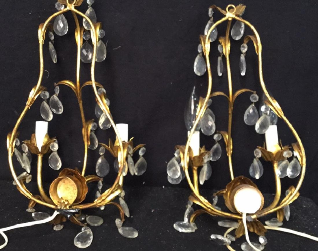 Vintage Gold Leaf Wall Iron Sconces Pair of vintage - 6