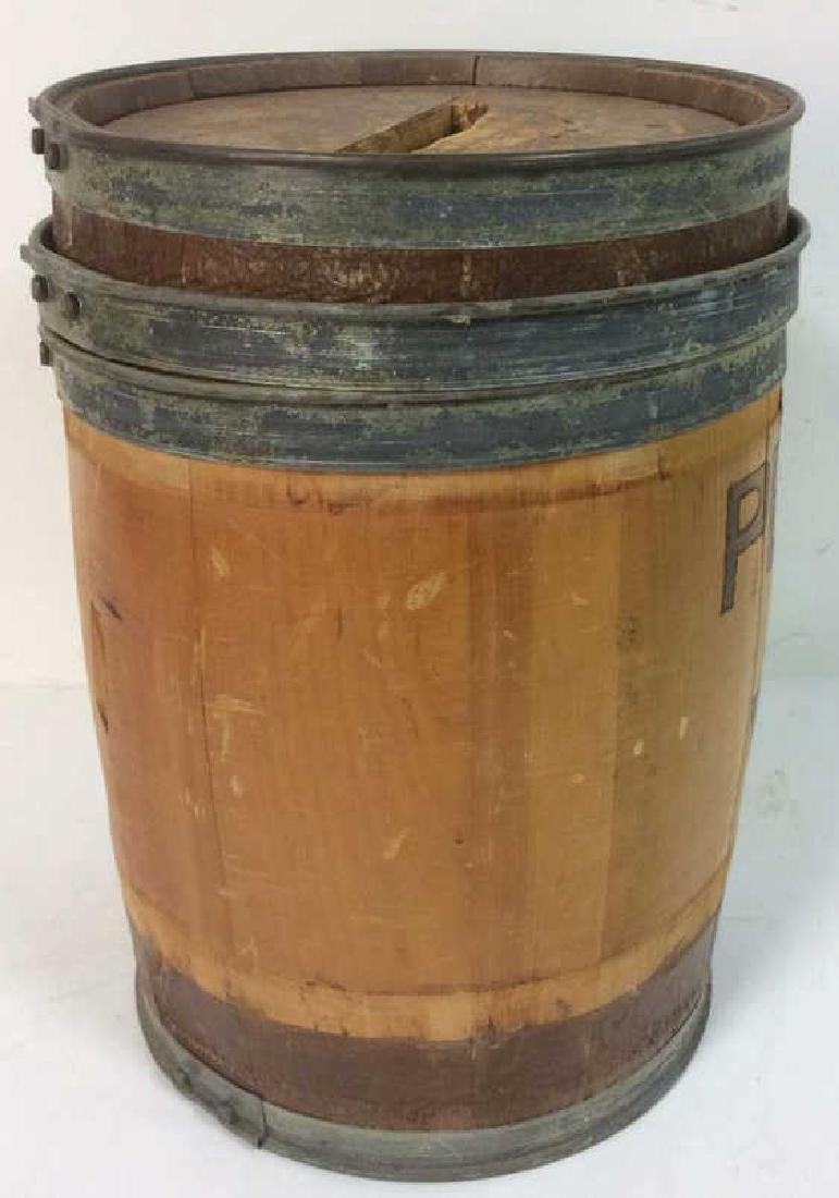 Vintage Wood Metal Pennies For Yale Barrel Folk Art, - 5