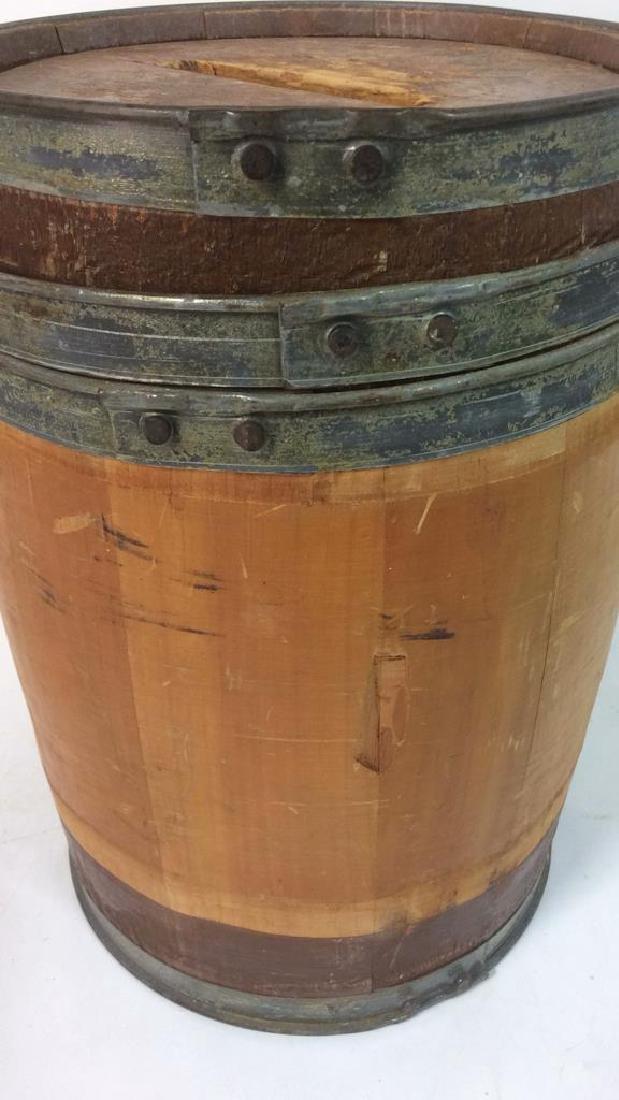 Vintage Wood Metal Pennies For Yale Barrel Folk Art, - 6