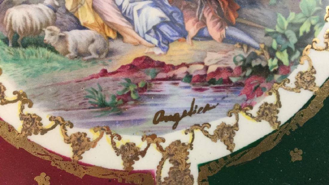 Decorative Porcelain Plates Signed Angelica Set of 4 - 8