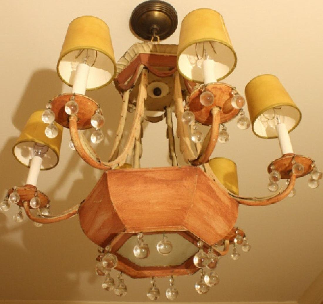 Whimsical Antique Tole Chandelier Purchased at