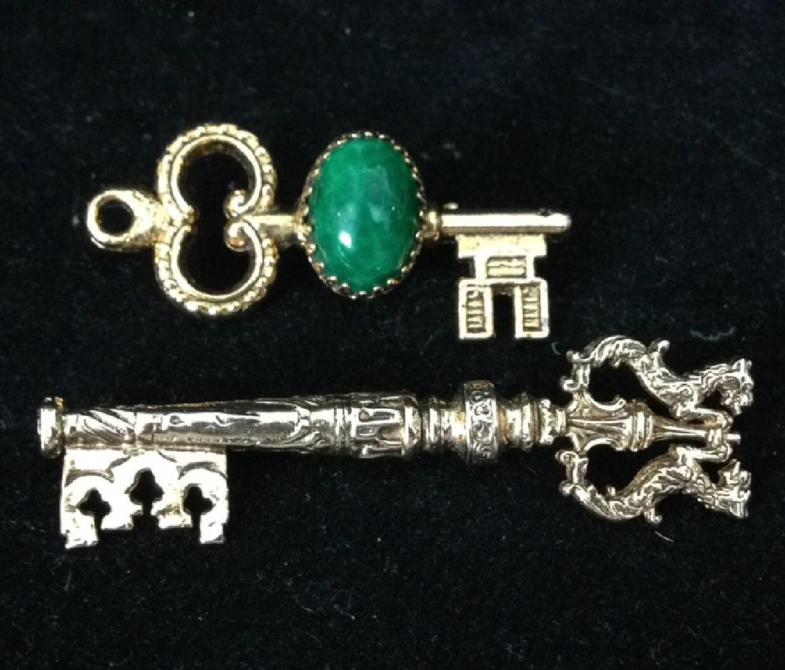 2 Gold Colored Key Shaped Pins Lot includes 2 gold