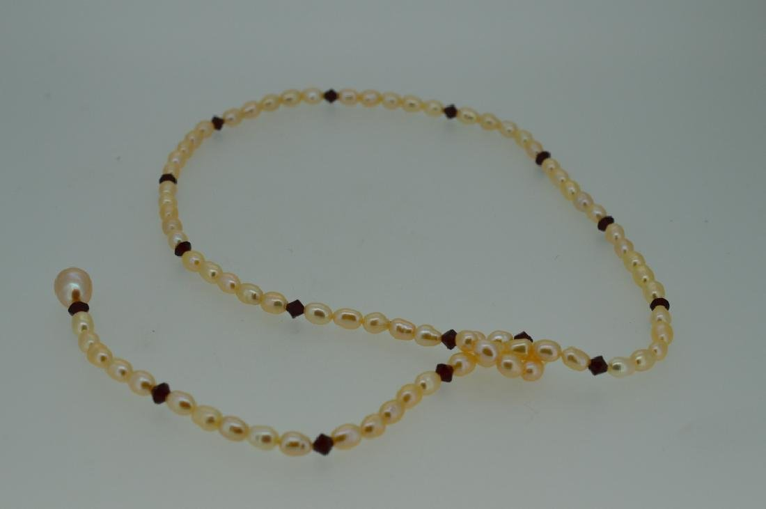 "Natural Pearl Ruby Red Bead Lariette Drop Necklace 18"" - 2"