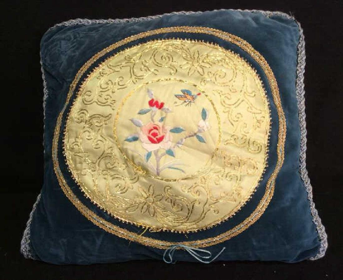 Vintage Embroidered Silk Velvet Throw Pillow Asian