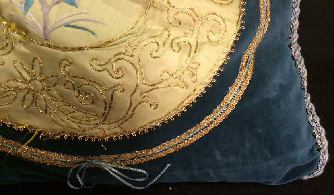 Vintage Embroidered Silk Velvet Throw Pillow Asian - 2