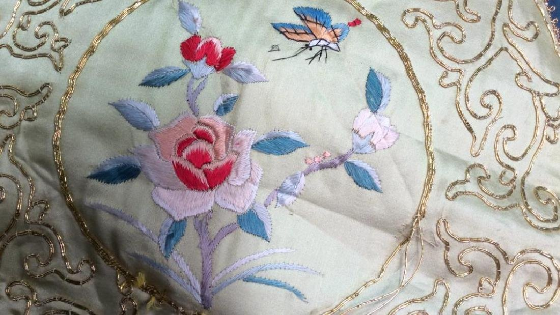 Vintage Embroidered Silk Velvet Throw Pillow Asian - 4