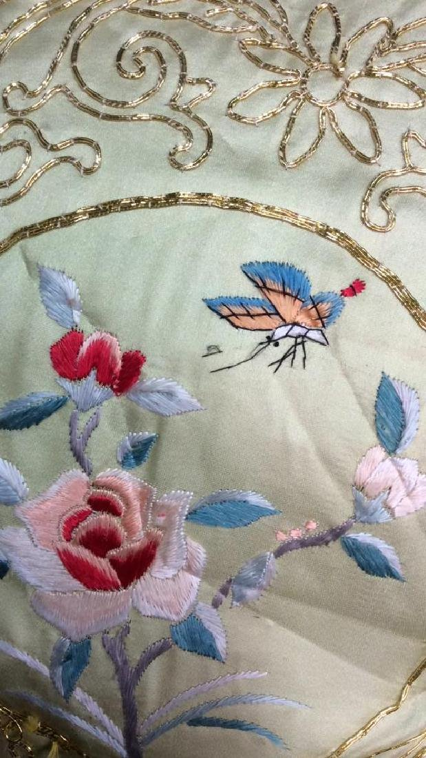 Vintage Embroidered Silk Velvet Throw Pillow Asian - 5