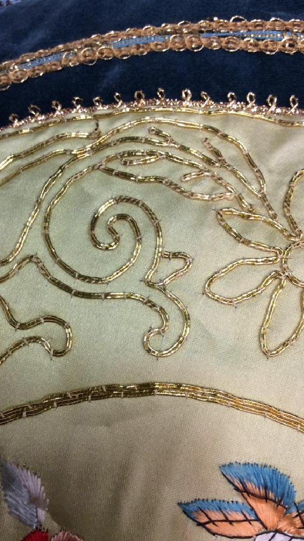 Vintage Embroidered Silk Velvet Throw Pillow Asian - 6