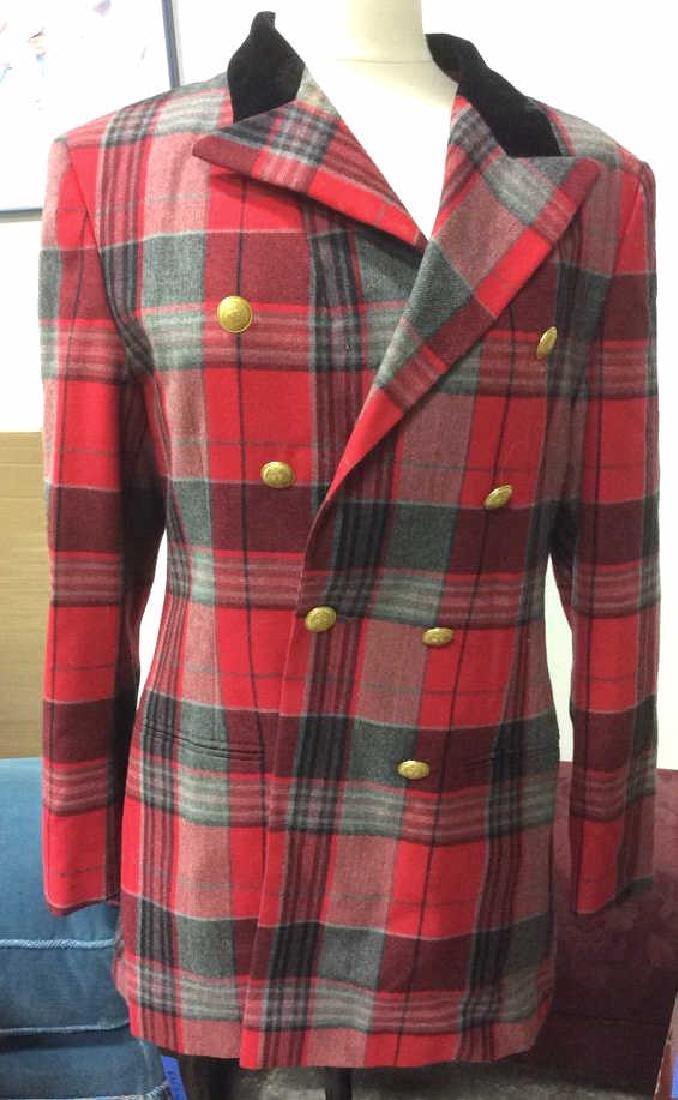 Vintage Mondi Plaid Jacket Double breasted wool long