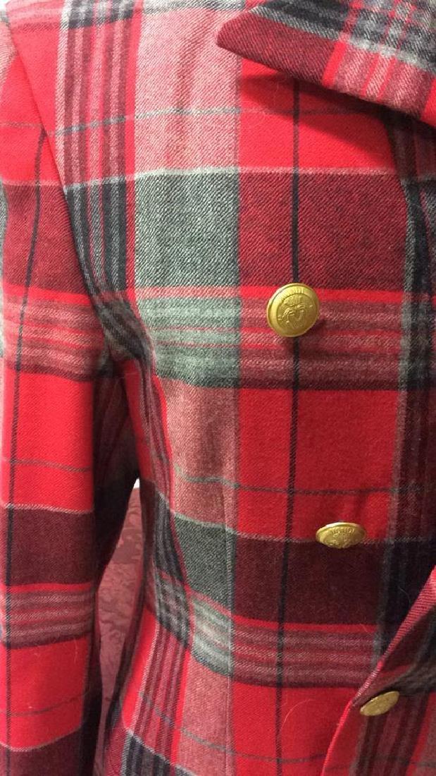 Vintage Mondi Plaid Jacket Double breasted wool long - 2