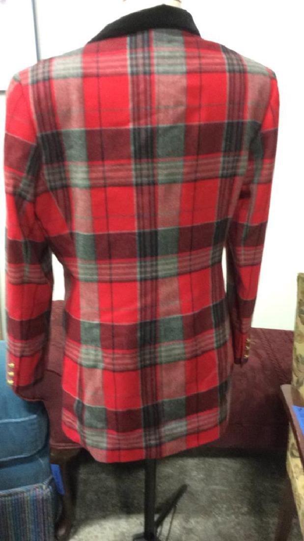 Vintage Mondi Plaid Jacket Double breasted wool long - 5