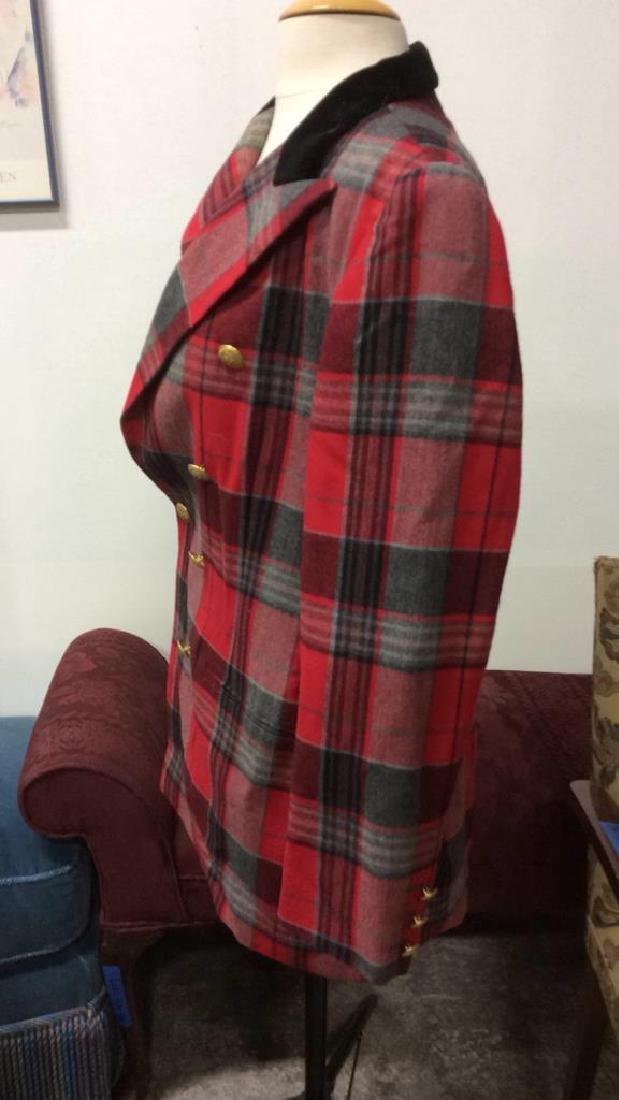 Vintage Mondi Plaid Jacket Double breasted wool long - 6