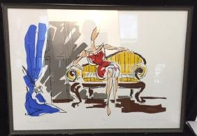 """""""Having A Minute """" Serigraph By E T Andress Framed"""