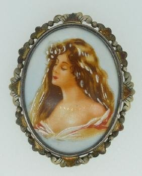 Hand Painted Portrait Brooch In Sterling Silver Antique