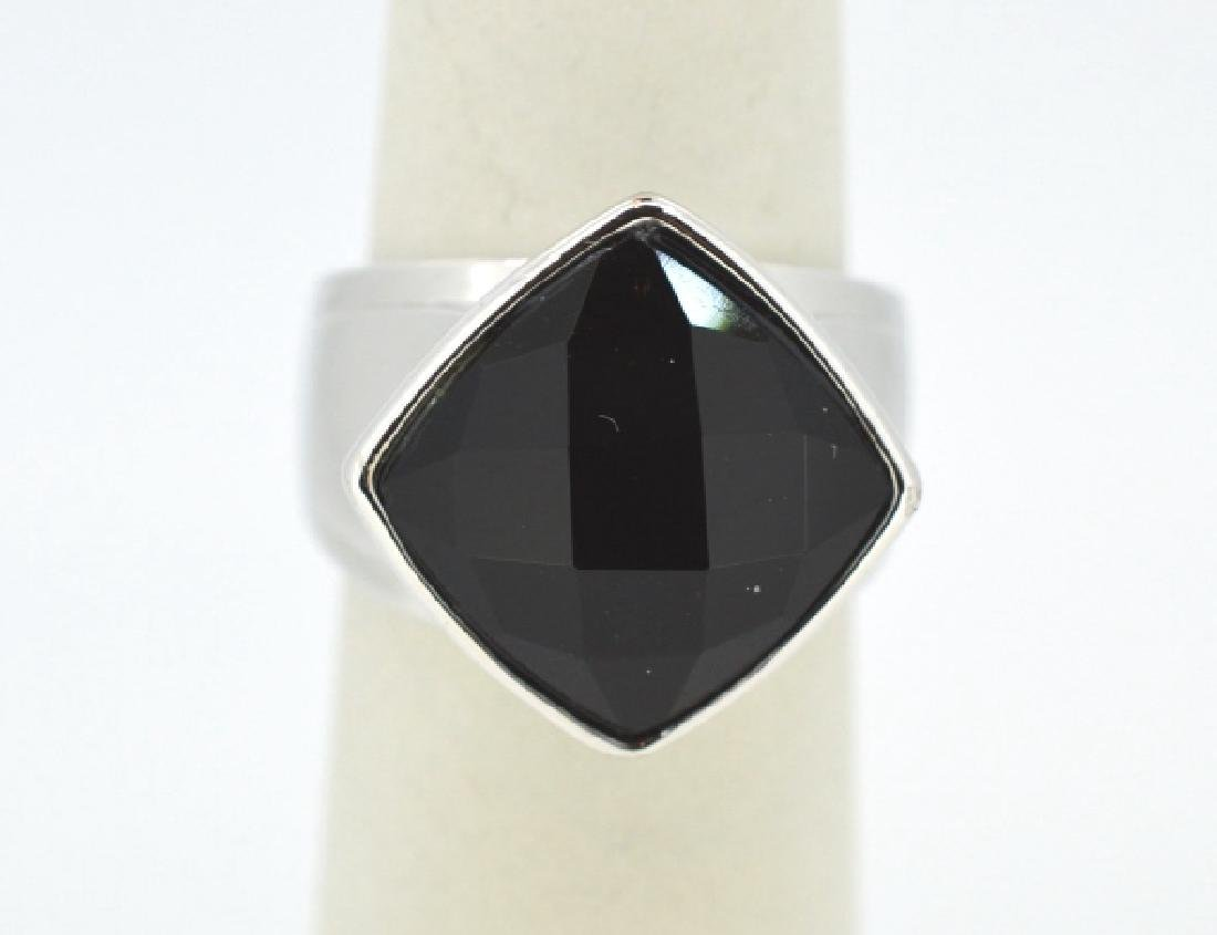 "Elle Sterling Silver & Onyx Ring Size 6 3/4"" Modern,"