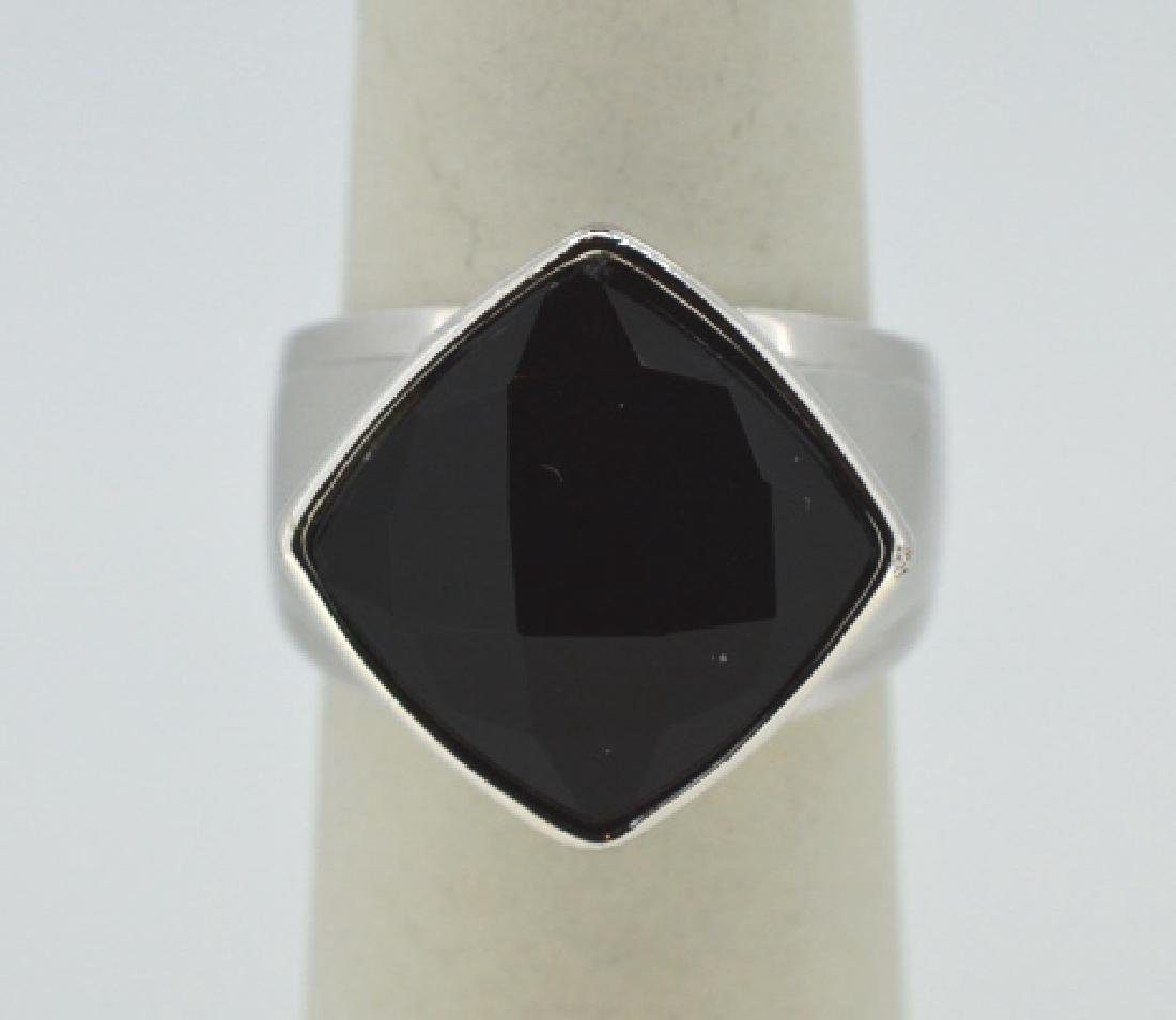 "Elle Sterling Silver & Onyx Ring Size 6 3/4"" Modern, - 2"