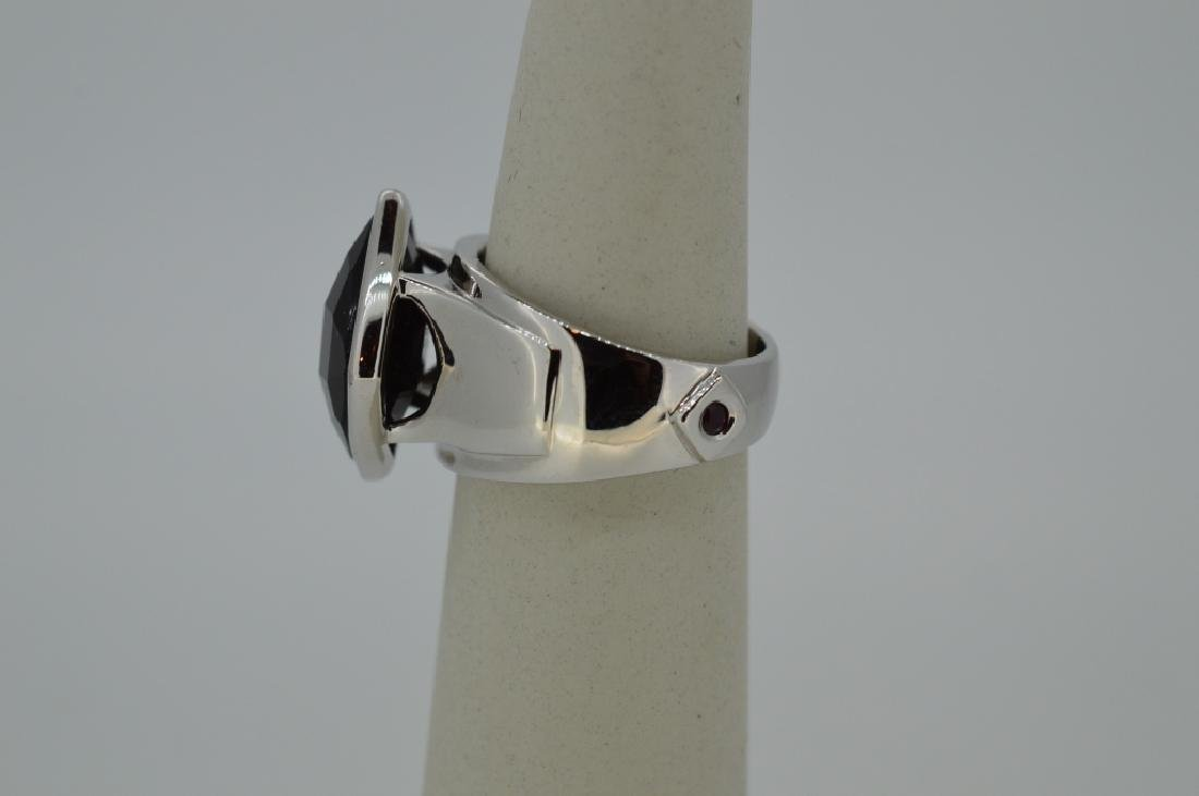 "Elle Sterling Silver & Onyx Ring Size 6 3/4"" Modern, - 3"