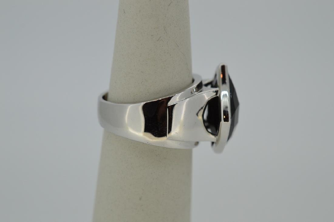 "Elle Sterling Silver & Onyx Ring Size 6 3/4"" Modern, - 4"
