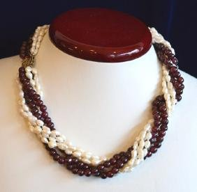 "16"" Multi Strand Twist Pearl & Garnet Necklace Choker"
