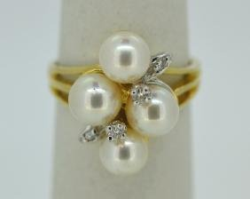 14K Yellow Gold Pearl & Diamond Cluster Ring 14k Yellow