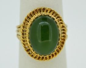 14K Yellow Gold & Jade Ring Size 7 1/4 14k Yellow Gold