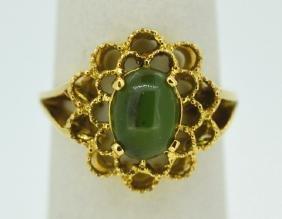 Jade Flower Ring 14K Yellow Gold Size 6 Jade Flower