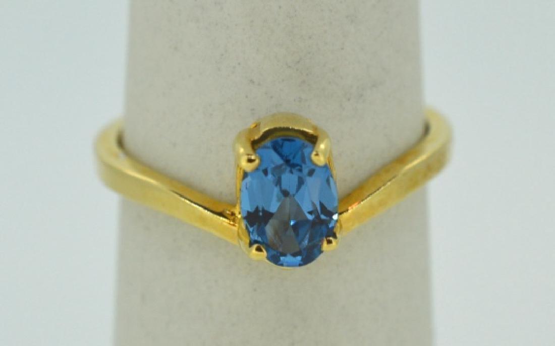 Blue Topaz & 14K Yellow Gold Ring Size 7 Blue Topaz &